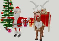 Cartoon Merry Christmas Noel Pack Santa Claus Gift Deer