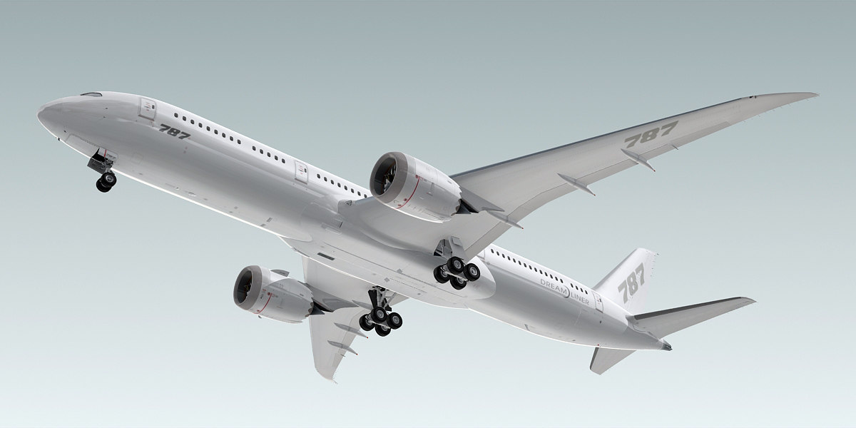 3d model boeing 787-9 dreamliner plane