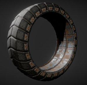 futuristic tire rusty version 3d 3ds