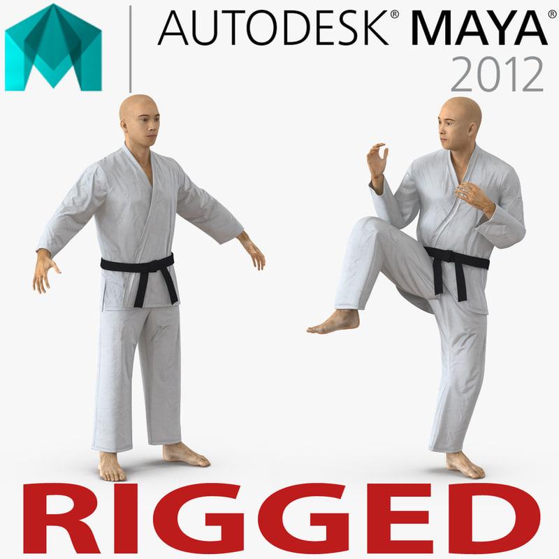 3d model of karate fighter japanese