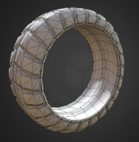 low-poly version futuristic tire 3d model