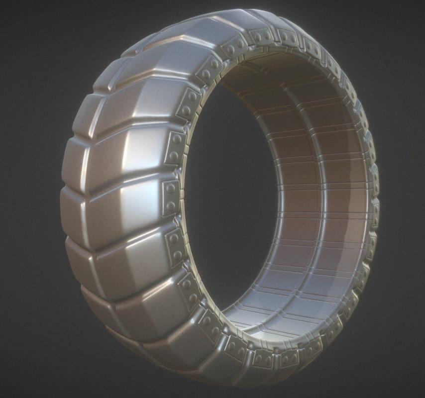 3d model futuristic tire high-poly version