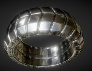 3d futuristic tire silver version