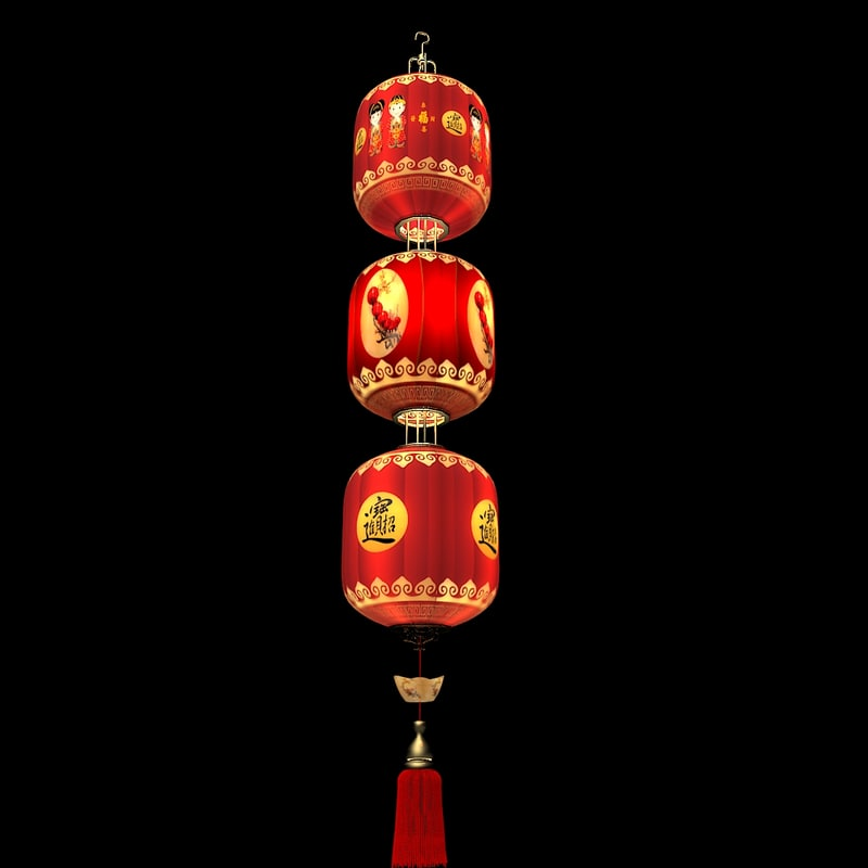 3d model chinese lantern red