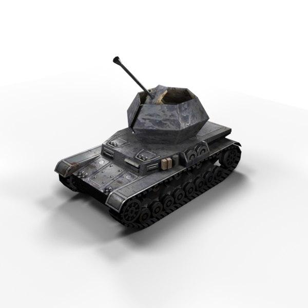 flakpanzer ostwind panzer tank 3d max
