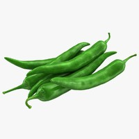 3d hot chili pepper green model