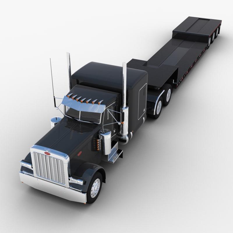 lowboy semi-trailer truck 3d model