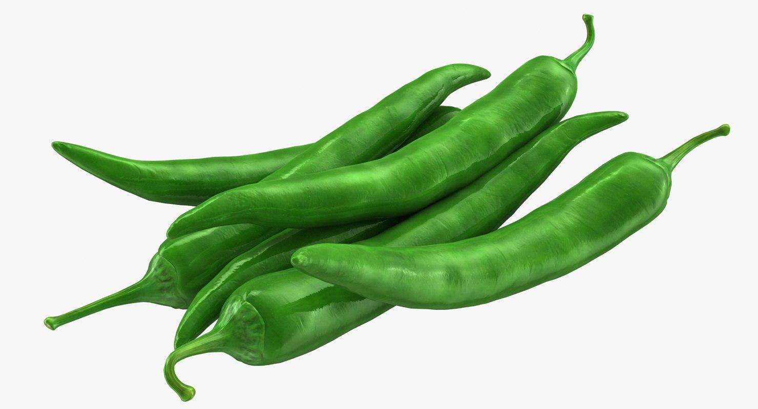 3d hot chili pepper green model