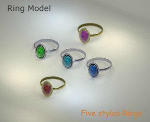 ring gold various 3d model