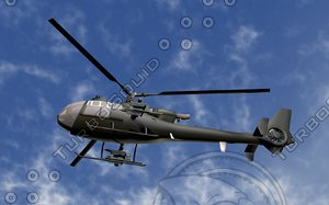helicopter sa 342 3d c4d