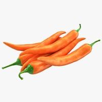 hot chili pepper orange 3d max