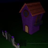 dark house cartoon obj