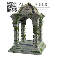 mossy temple 3d obj