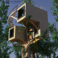 modern treehouse house tree 3d 3ds