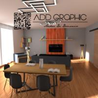 livingroom black wood 3d 3ds