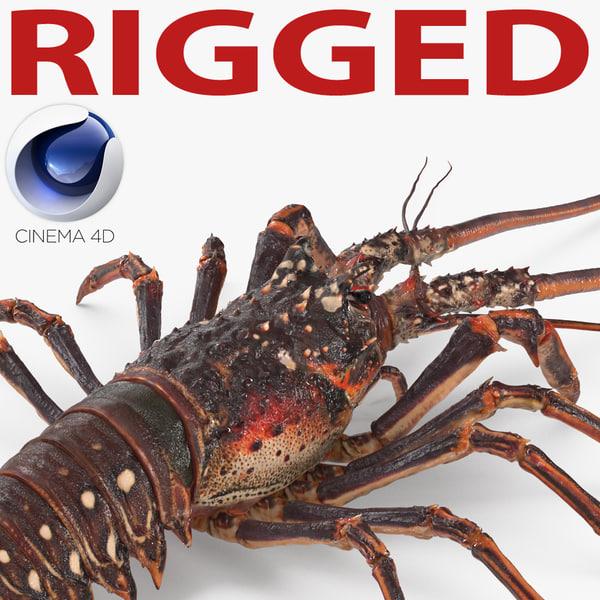 langouste rigged 3d model