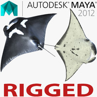 Manta Ray Rigged for Maya