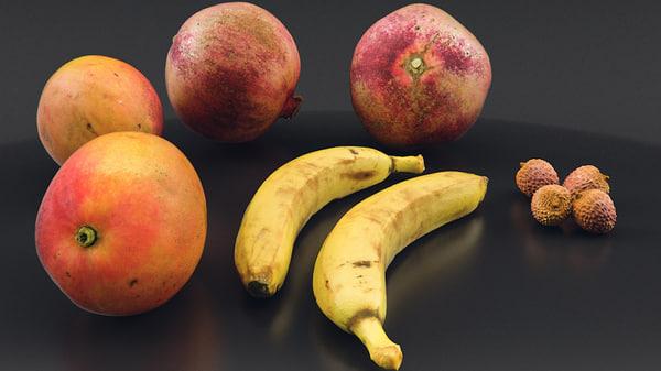 3d pomegranate fruits