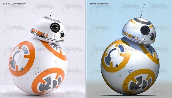 3d bb-8 star wars droid model