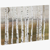 loon4352 birches giclee painting 3d model