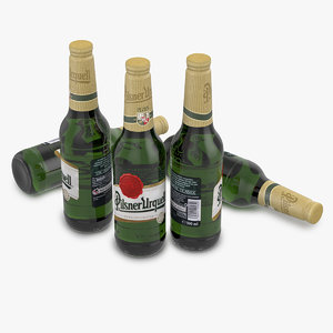 beer bottle pilsner urquell 3d model