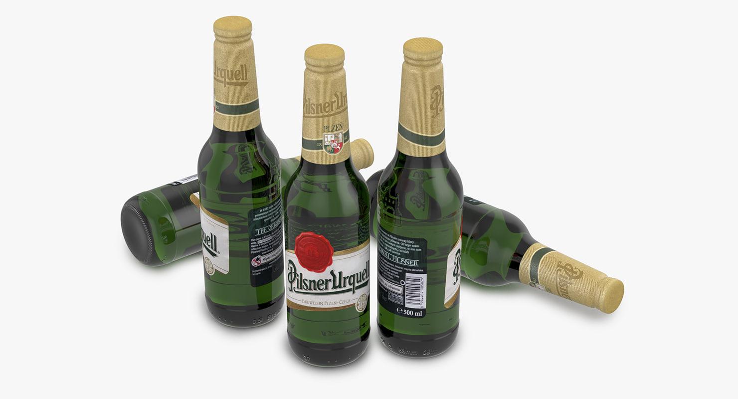 beer bottle pilsner urquell 3d model