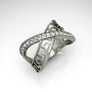 ring silver gem 3d 3ds