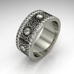 3d 3ds ring silver gem