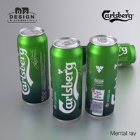 beer carlsberg green 500ml 3d model
