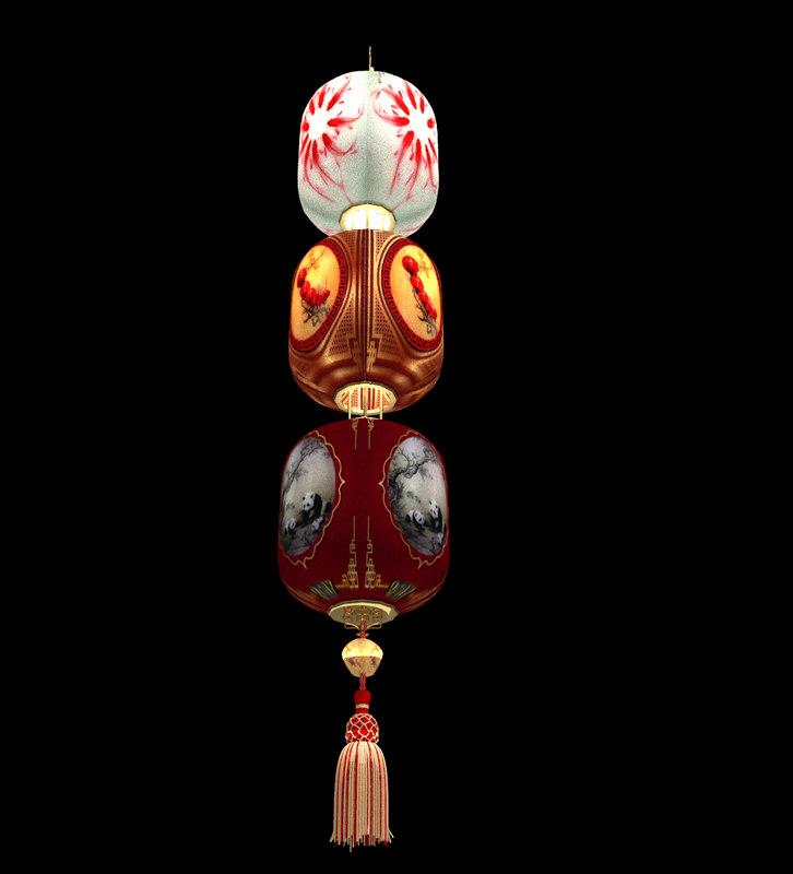 3d x chinese lantern red