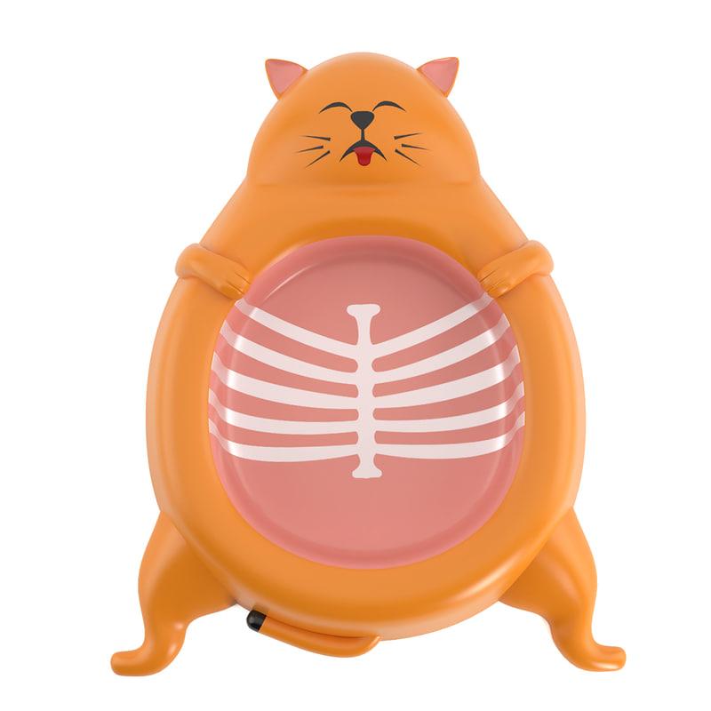 cat dish food 3d model