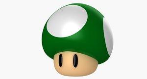 super mario green mushroom 3d model