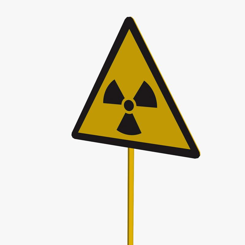 radiation sign 3d model