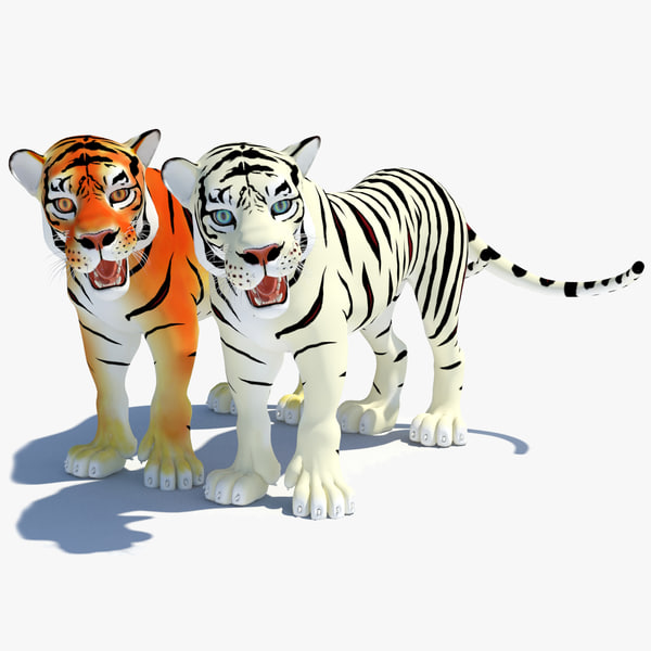 3d model cartoon tiger white natural