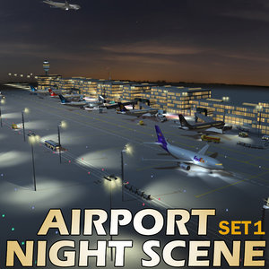 airport night scene air 3d max