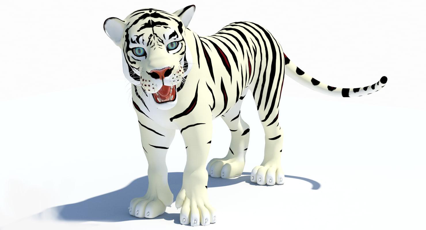 max cartoon tiger white rigged