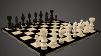 chess board pieces 3d model