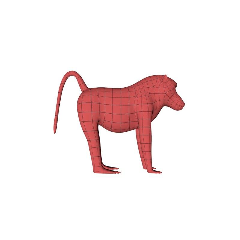 3d base mesh baboon