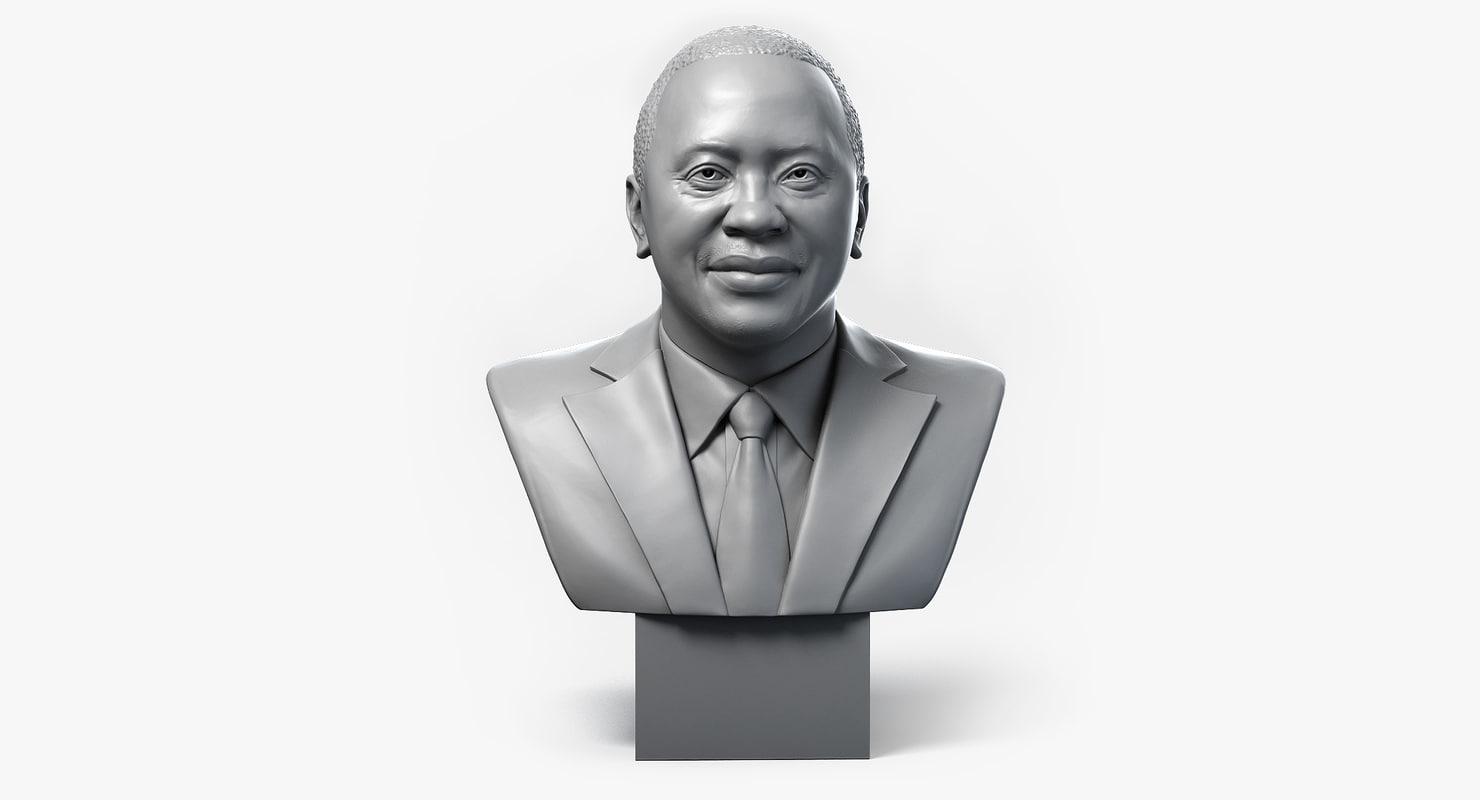 3d uhuru kenyatta portrait bust