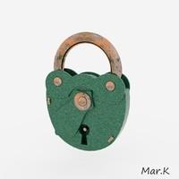 old padlock 3d obj