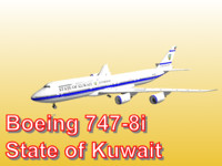 boeing 747-8i state kuwait 3d model