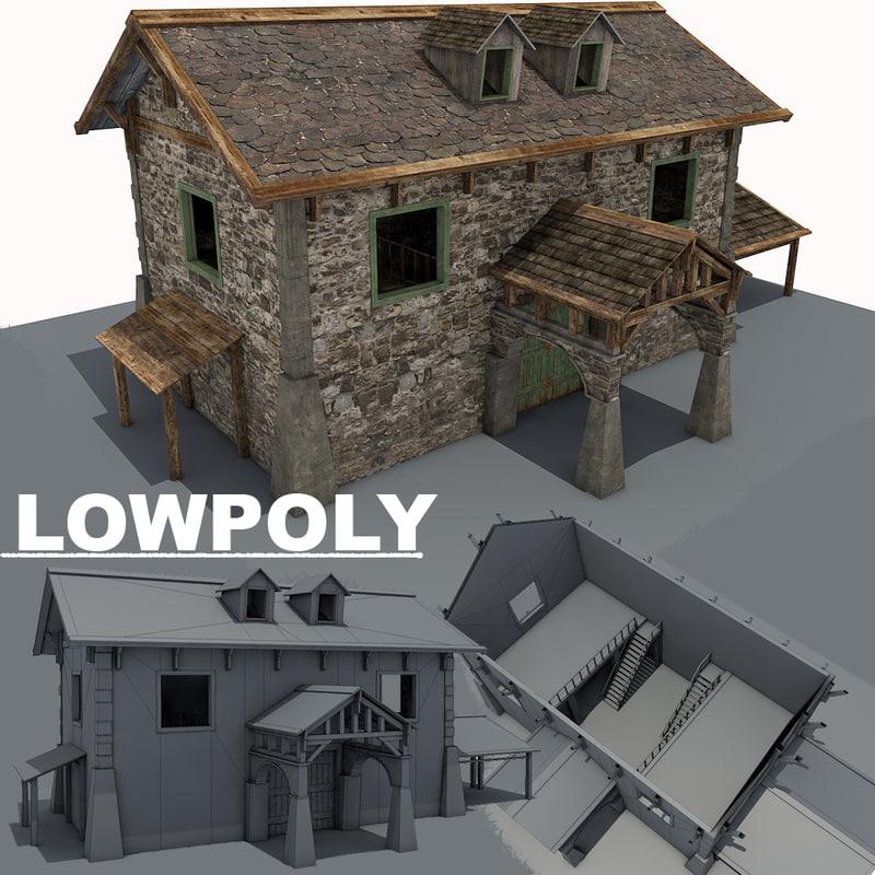 stone farm building 3d 3ds