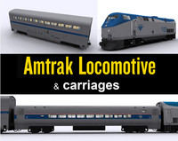 3d model of amtrak locomotive carriages
