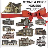 stone brick houses 10 3d c4d