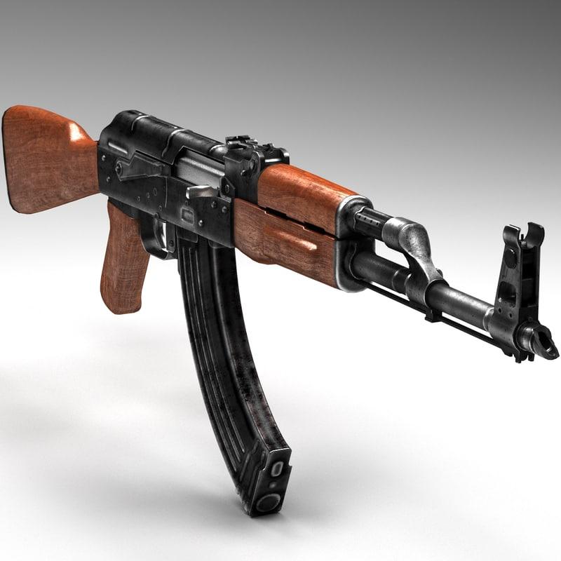 rifle ak-47 3d model