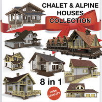 alpine chalet houses 3d 3ds