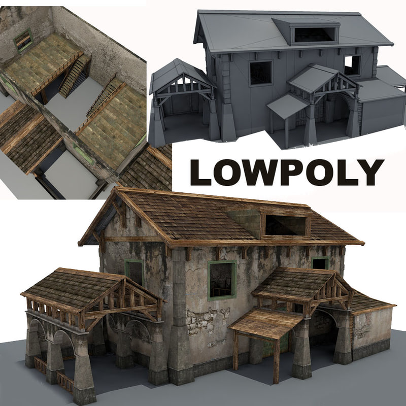stone farm building 3d max