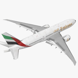 3d model of boeing 777 200lr emirates