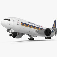 Boeing 777 200LR Singapore Airlines Rigged 3D Model