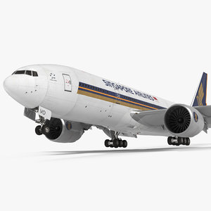boeing 777 200lr singapore 3d model